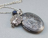 Pavo,Peacock,Locket,Silver Locket,Antique Locket,Blue,Filigree,Silver,Antique. Handmade jewelery by valleygirldesigns.