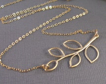 Olive Branch,Branch Necklace,Twig Necklace,Gold Necklace,Woodland Necklace,Branch Jewelry,Twig Jewelry,Minimalist Jewlery,Tree necklace