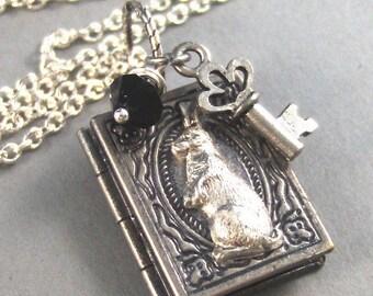 The Story of Peter Rabbit,Silver Locket,Antique Locket,Book Locket,Rabbit,Key,Silver. Handmade Jewelry by Vallegirldesigns on Etsy.