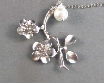 Felicity,Cherry Blossom Necklace,Pearl Necklace,Flower Necklace,Sterling Silver Necklace,Cherry Blossom,Cherry Blossom pearlvalleygirldesi