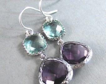 Hanna. Silver Earrings,Sterling Earrings,Amethyst Earrings,Peridot Birthstone, ,Bride,Wedding. Handmade jewelery by ValleyGirlDesigns on Ets