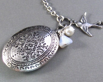 Sky,Silver Locket,Bird Locket,Antique,Freshwater Pearl,Bird,Wedding,Filigree,Flower. Handmade jewelery by valleygirldesigns.