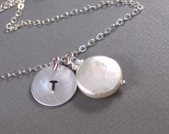 Anastasia,Silver Necklace,Sterling Silver, Pearl Necklace,Stamped,Initial,Mommy. Handmade jewelery by valleygirldesigns.