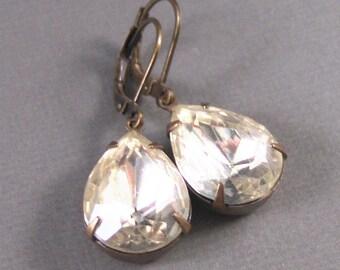 Iridessa,Diamond Earrings,Vintage Earrings,Vintage Diamond Earrings,Diamond,Brass,Wedding. Handmade jewelry by valleygirldesigns.