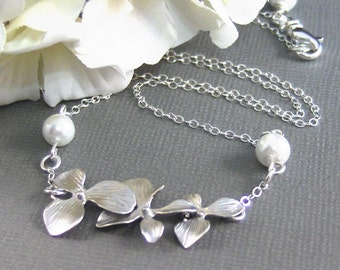 Kourtney,Sterling Silver ,Silver Necklace,Cherry Blossoms,Wedding,Bride,Lotus,Pearl. Handmade Jewelry by valleygirldesings on Etsy.