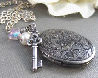 Key To My Heart, Antique Locket, Locket,Antique Silver,Silver Locket,Key,Pink,Flower,Pearl. Handmade Jewelry by valleygirldesigns.