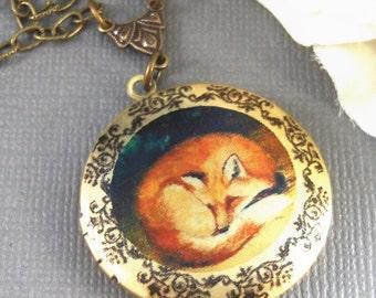 Sleepy Fox,Brass Locket,Locket Art, Art Locket,Fox,Sleep,Red,Little,Mom,Antiqued Locket,Baby. Handmade jewelry by valleygirldesigns.