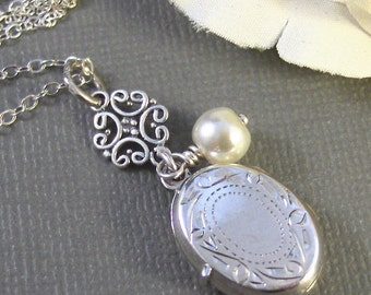 Gabrielle,Locket,Silver Locket,Sterling Silver Locket,Sterling Silver,,Pearl,Wedding Jewelry. Handmade jewelry by valleygirldesigns.