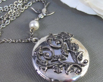 Morning Glory,Locket,Antique Locket,Silver Locket,Bird,Bird Locket,Flower Locket. Handmade jewelry by Valleygirldesigns.