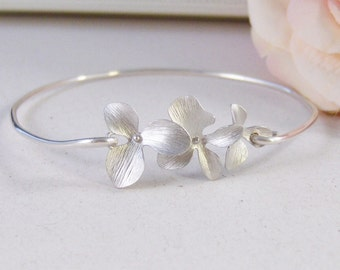 Silver Blossoms,Bangle Bracelet,Silver Bangle,Flower Bracelet,Flower Bangle,Sterling Silver Bracelet,Cherry Blossom,Blossomvalleygirldesigns