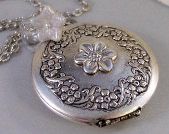 Enchanted,Locket,Silver Locket,Flower,White,Crystal,Antique Locket,Floral,Jewelry. Handmade jewelry by valleygirldesigns.
