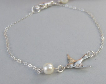 Sparrow's Bracelet,Bracelet,Silver,Silver Bracelet,Branch,Sterling Silver,Bird,Pearl,Bride,Wedding. Handmade jewelry by valleygirldesigns.
