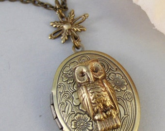 Owl's Compass,Locket,Owl,Brass Locket,Brass Necklace,Compass,Woodland,Antique Locket. Handmade jewelry by valleygirldesigns.
