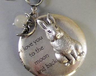 Somebunny Loves You,Rabbit Necklace,Bunny Necklace,I love you to the moon Necklace,Easter,I love you Locket,Bunny Locket,Bunny Necklace