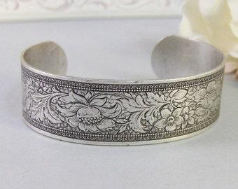 Nora,Bracelet,Cuff,Silver Bracelet,Cuff Bracelet,Bracelet,Silver,Antique Bracelet,Wedding,Bride.Handmade Jewelry by valleygirldesigns.