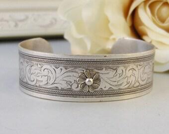 Tiny Blossom,Bracelet,Cuff,Silver Bracelet,Cuff Bracelet,Bracelet,Silver,Antique Bracelet,Wedding.Handmade Jewelry by valleygirldesigns.
