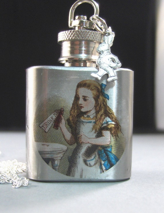Silver Flask Necklace,Alice in Wonderland,Drink Me,Shot Glass,New Years,Alice,Rabbit,Drink. Handmade jewelery by valleygirldesigns.
