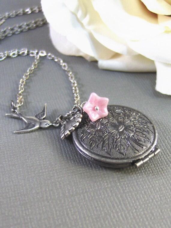Adora,Silver Locket,Antique Locket,Bird Locket,Filigree Locket, Pink Flower,Bird. Handmade jewelry by valleygirldesigns.