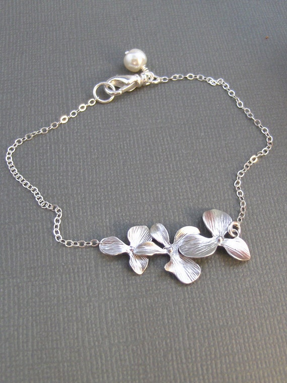 Silver Blossom,Bracelet,Silver Bracelet,Orchid,Orchid Bracelet,Cherry Blossom,Sterling Silver,Mum,Lotus,Bride,Wedding valleygirldesigns