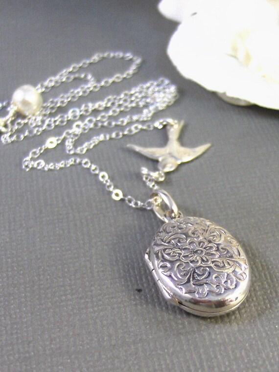 Alouette,Locket,Silver Locket,Sterling Silver Locket,Sterling Silver,Bird,Wedding Jewelry. Handmade jewelry by valleygirldesigns.