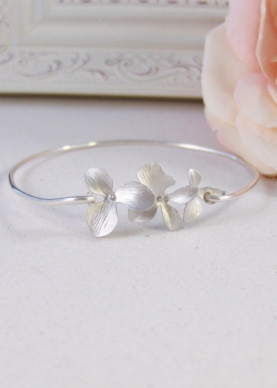 Silver Blossoms,Sterling,Cherry Blossom,Silver Bracelet,Blossom,Bangle,Wedding, Bracelet. Handmade jewelry by valleygirldesigns on Etsy.