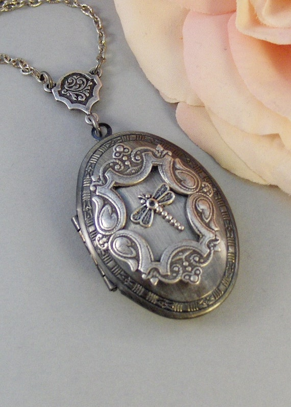 Tiny Dragonfly,Locket,Silver, Dragonfly ,Wings,Antiqued,Charm,Flying,Summer,Vintage, Style. Handmade jewelery by Valleygirldesigns.