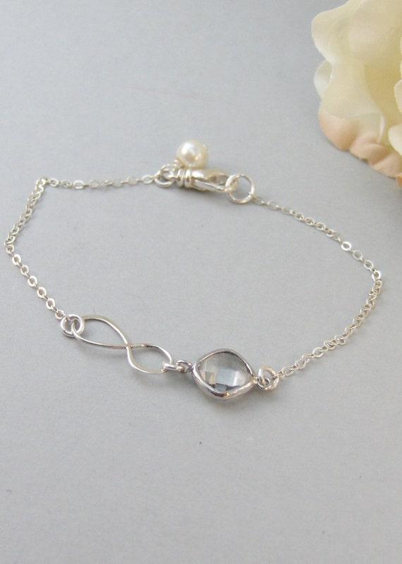 Crystal Infinity,Bracelet,Infinite,Sterling Silver,Infinity,Silver Bracelet,Diamond,Bride,Wedding,Bridesmaid. Jewelry by valleygirldesigns.