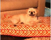 Medium Bingo Bed In Orange Graphic Pattern with Pink Piping