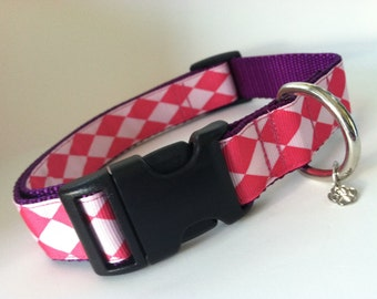 Pink Harlequin Dog Collar XL