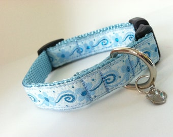 Extra Small Blue Flowers and Swirls Dog Collar
