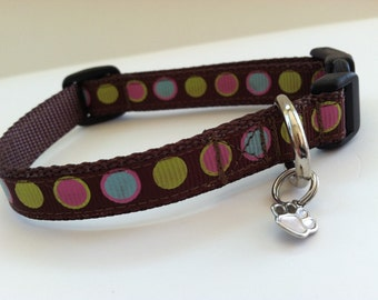 Extra Small Candy Dots on Chocolate Dog Collar