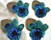 6 Elegant Peacock feather hair clips with charming satin flower. perfect gift for Bridesmaid.