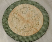 Primly Stitched Shamrock Candle Mat ~~ Made to Order