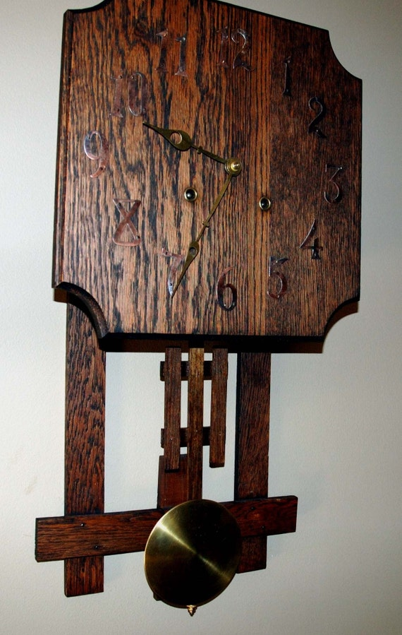 Antique 1920 Mission Arts And Crafts Clock
