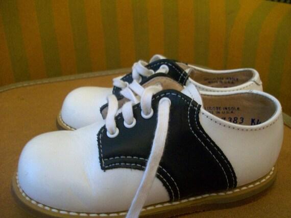 Vintage Childs Black and White Saddle Oxfords