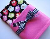 Baby Swaddle Blanket in Black, Pink, Blue, Green Sleepy Owls