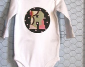Custom Baby Bodysuit, Applique Initial, in Brown Dots and Pink Floral, Personalized Baby Bodysuit, Long-sleeved, Size 0-3, 3-6, 6-12mo.