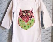 Baby Bodysuit with Owl, Baby Girl Hootie Bodysuit in Pink, Brown, Green Dots, Damask and Floral, size 3-6 months, Hoot