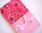 Baby Swaddle Blanket in Pink and Red Owls, Flannel Valentines Day Baby Blanket, Baby Girl Swaddling Blanket in Owls and Light Pink