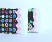 Baby Burp Cloths with Ric Rac in Pink, Purple, Black, Set of 2 Decorative Edged Baby Girl Burp Cloths in Flowers and Dots