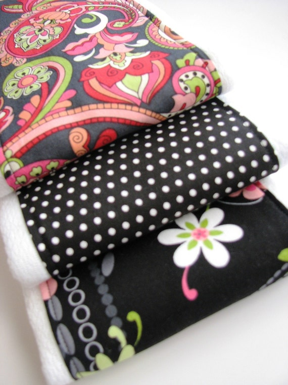 Baby Burp Cloths in Black, Pink and White, Set of 3 Baby Burp Rags in Floral, Paisley, Polka Dots, Prefold Cloth Diaper Burp Cloth Set