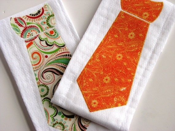 Necktie Burp Cloths in Orange and Red Paisley, Set of 2