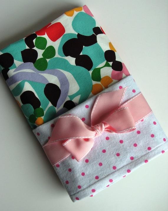 Baby Swaddle Blanket in Lavender, Green, Pink, Aqua, Flannel Baby Blanket, Baby Girl Swaddling Blanket in Alexander Henry Stone Flower