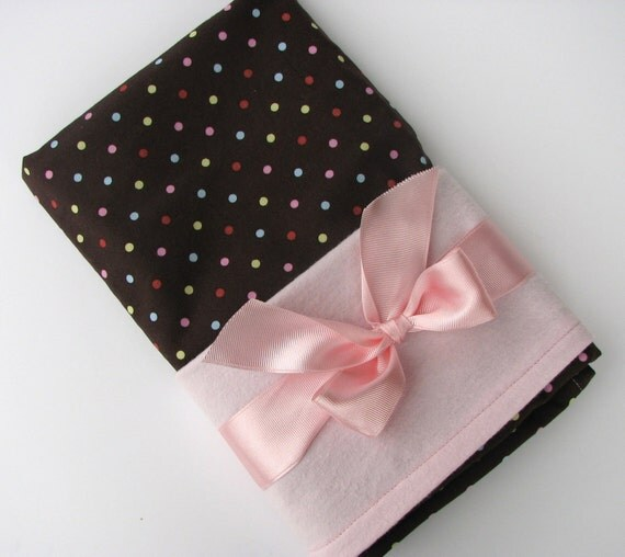 Baby Swaddle Blanket in Chocolate Brown Polka Dots, Flannel Baby Blanket, Baby Girl Swaddling Blanket in Brown, Pink, Blue, Green Dots