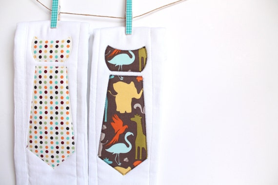 Baby Burp Cloths with Necktie in Central Park and Polka Dot Punch, Set of 2 Baby Boy Burp Cloths in Brown Zoo Animals and Cream Dots