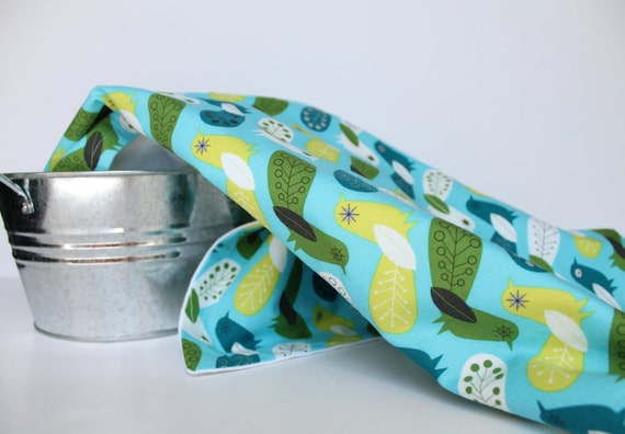 Baby Swaddle Blanket in Blue Birds, Critter Community by Suzy Ultman, Flannel Baby Blanket, Baby Swaddling Blanket in Blue and Chartreuse
