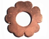 Copper Dogwood Flower Blank with Round Center 31mm Cutout for Enameling Stamping Texturing Blanks