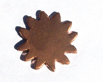 Copper Sun Blank 20mm Shape for Enameling Stamping Texturing Blanks - 6 pieces