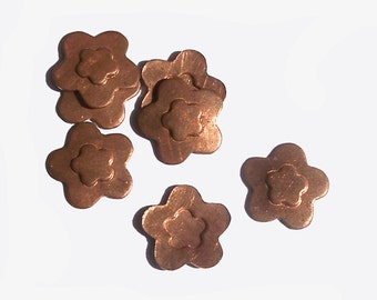 Copper Flower Whimsy Small 5 Petal Flower in Flower Blank Cutout for Enameling Stamping Texturing Blanks