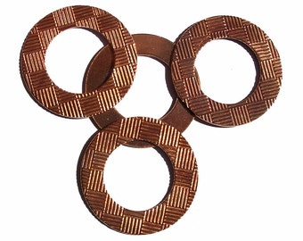 40mm Copper Donut Washer Blank, Jewelry Charms with Texture - 2 Pieces